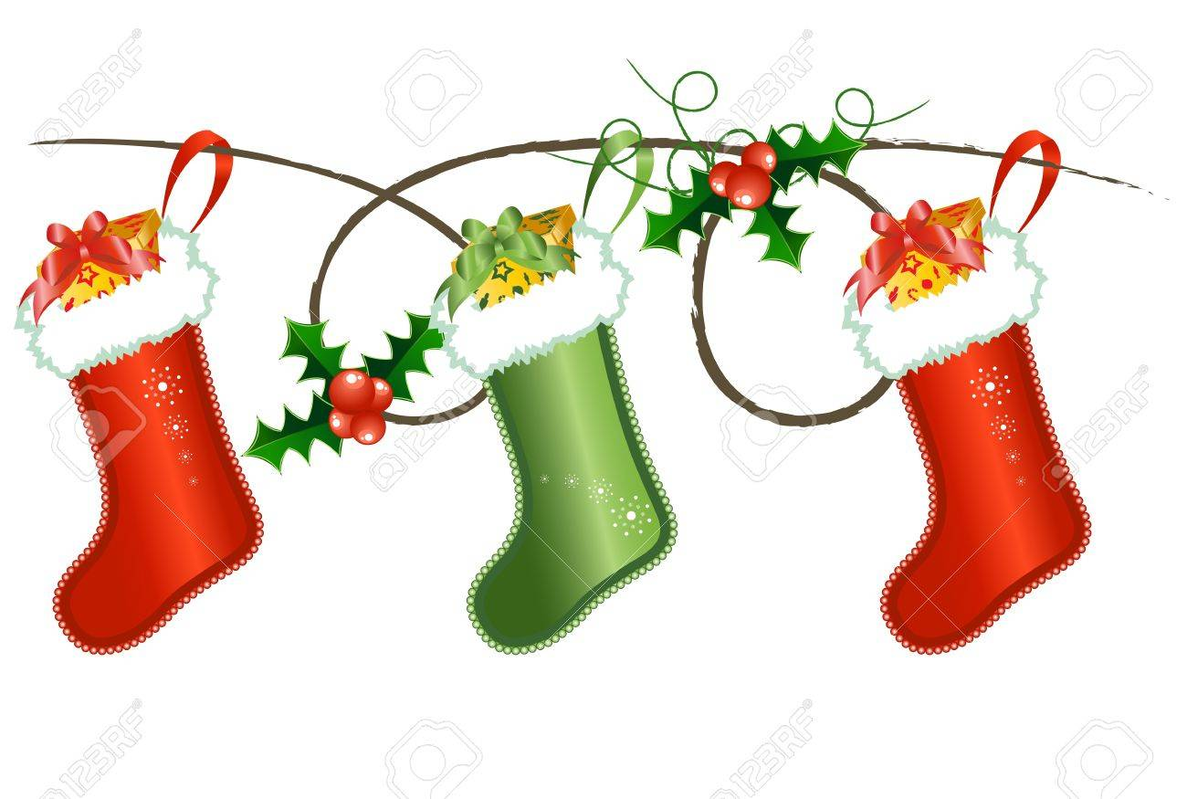Vector of Christmas socks with berries Stock Vector - 11673951