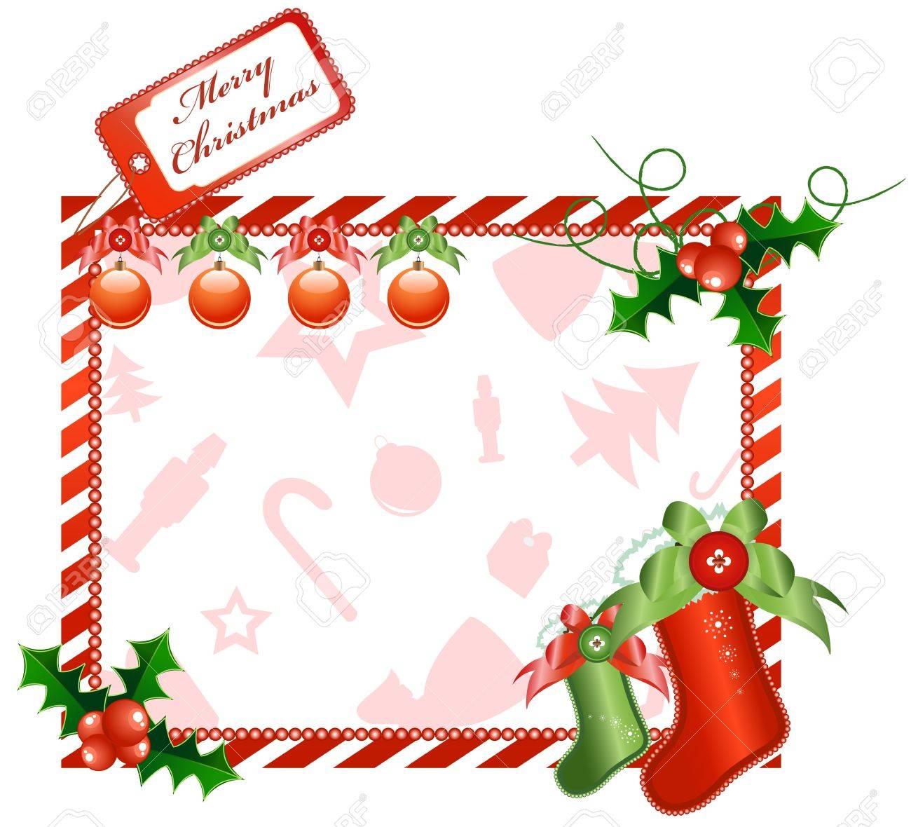 Vector Christmas horizontal card with european holly and socks Stock Vector - 11664047