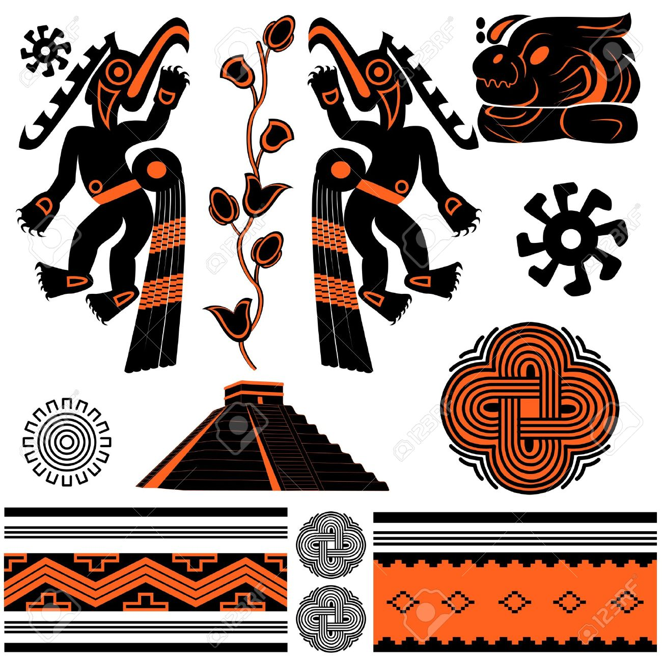 Native american ornaments - Vector Vector Of Ancient American Ornaments And Pyramid