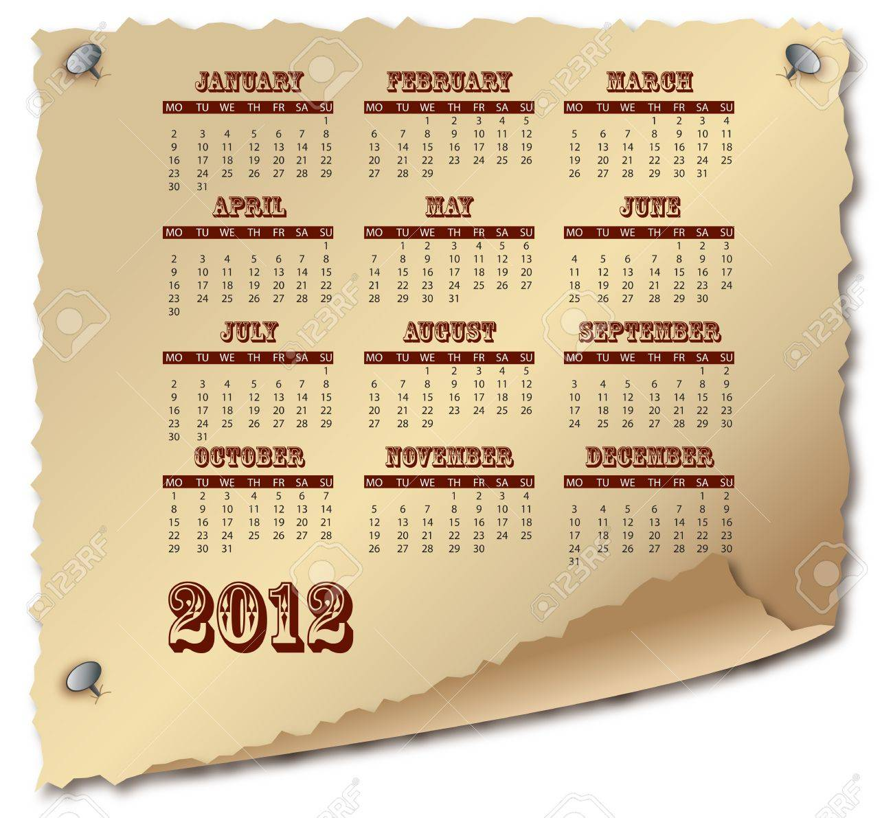 Scroll of old paper with calendar 2012 on white Stock Photo - 12270140