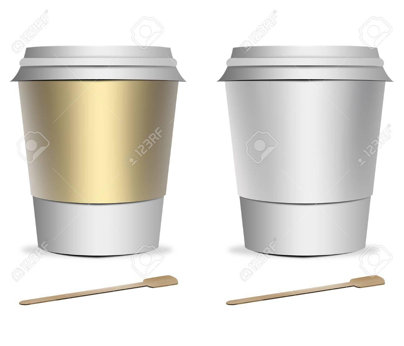 2 Kunststoff-Tasse Kaffee-Vorlagen Mit Rührwerken über Weißem ...