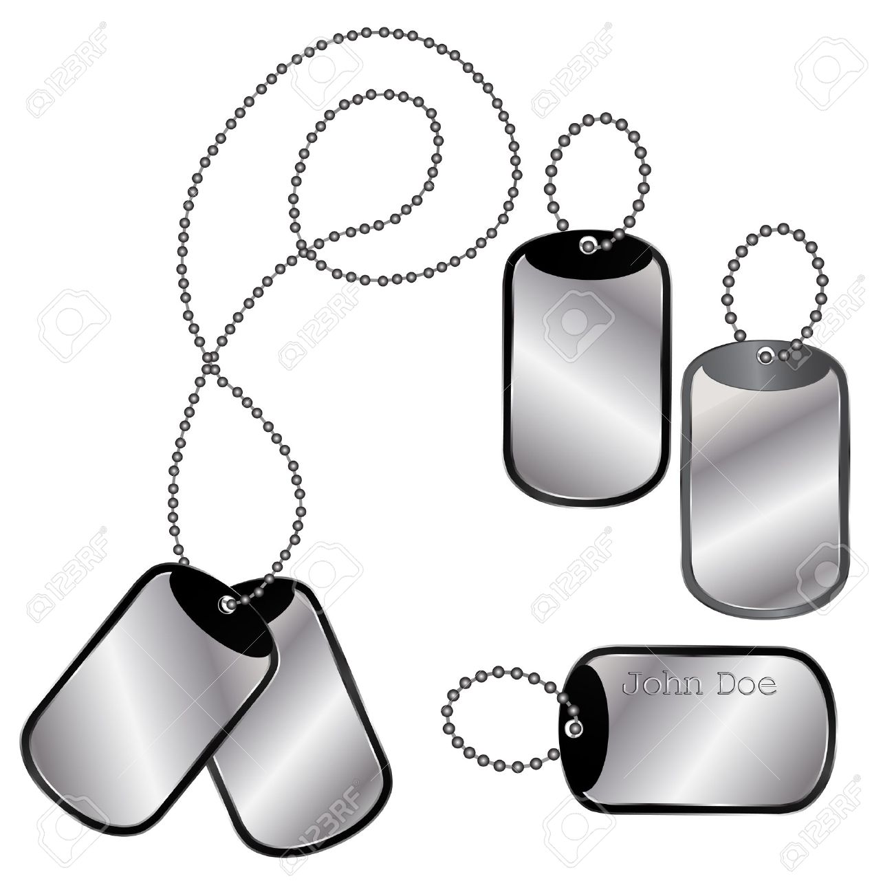 Vector of different dog tags on a chain on white Stock Vector - 12776237