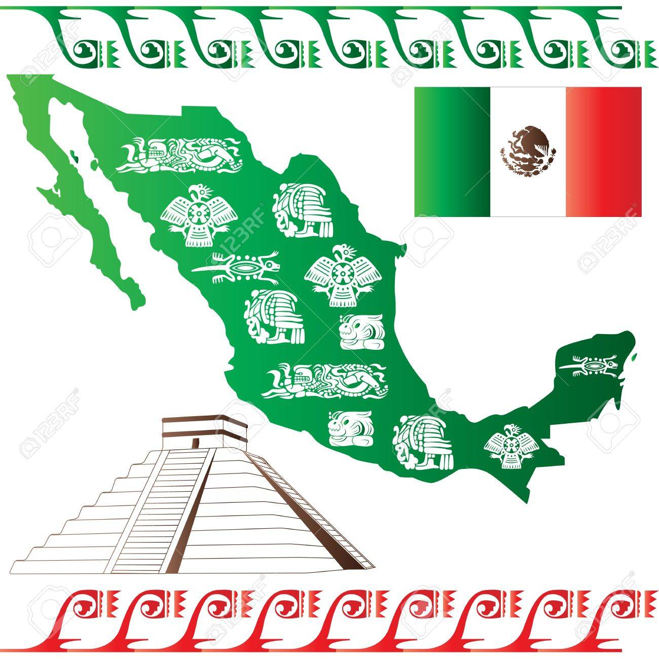 Vector Of Mexican Map With Flag And Mayan Pattern Isolated On – Mexicanmap