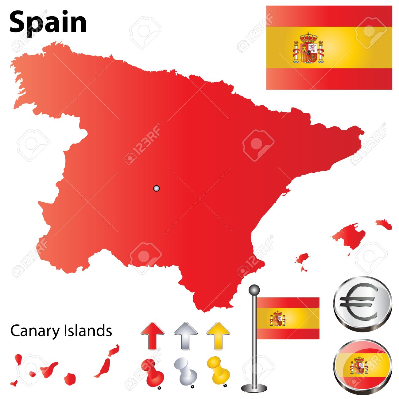 Vector set of Spain country shape with flags, calendar and icons isolated on white background Stock Vector - 13906277