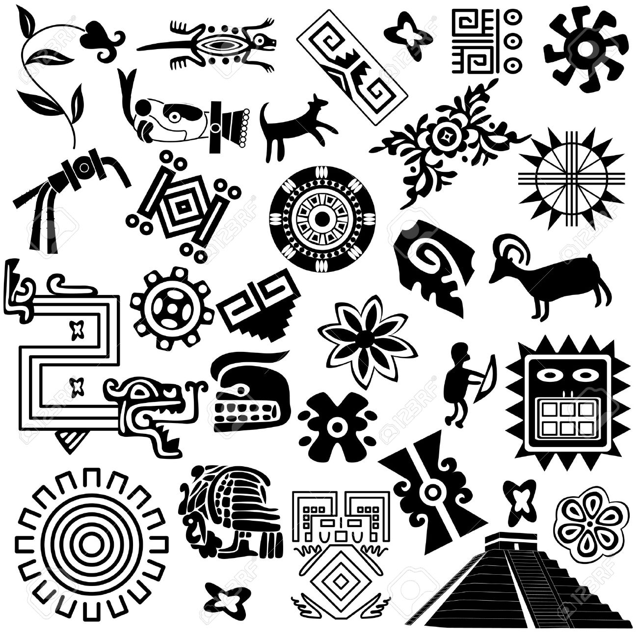 ancient american design elements on white Stock Vector - 14132874