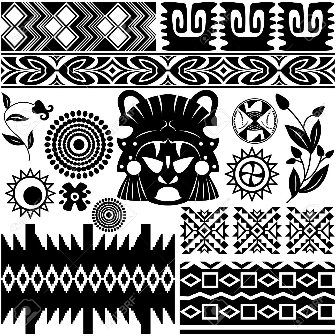 Ancient Indian Tattoos Vector - image of ancient