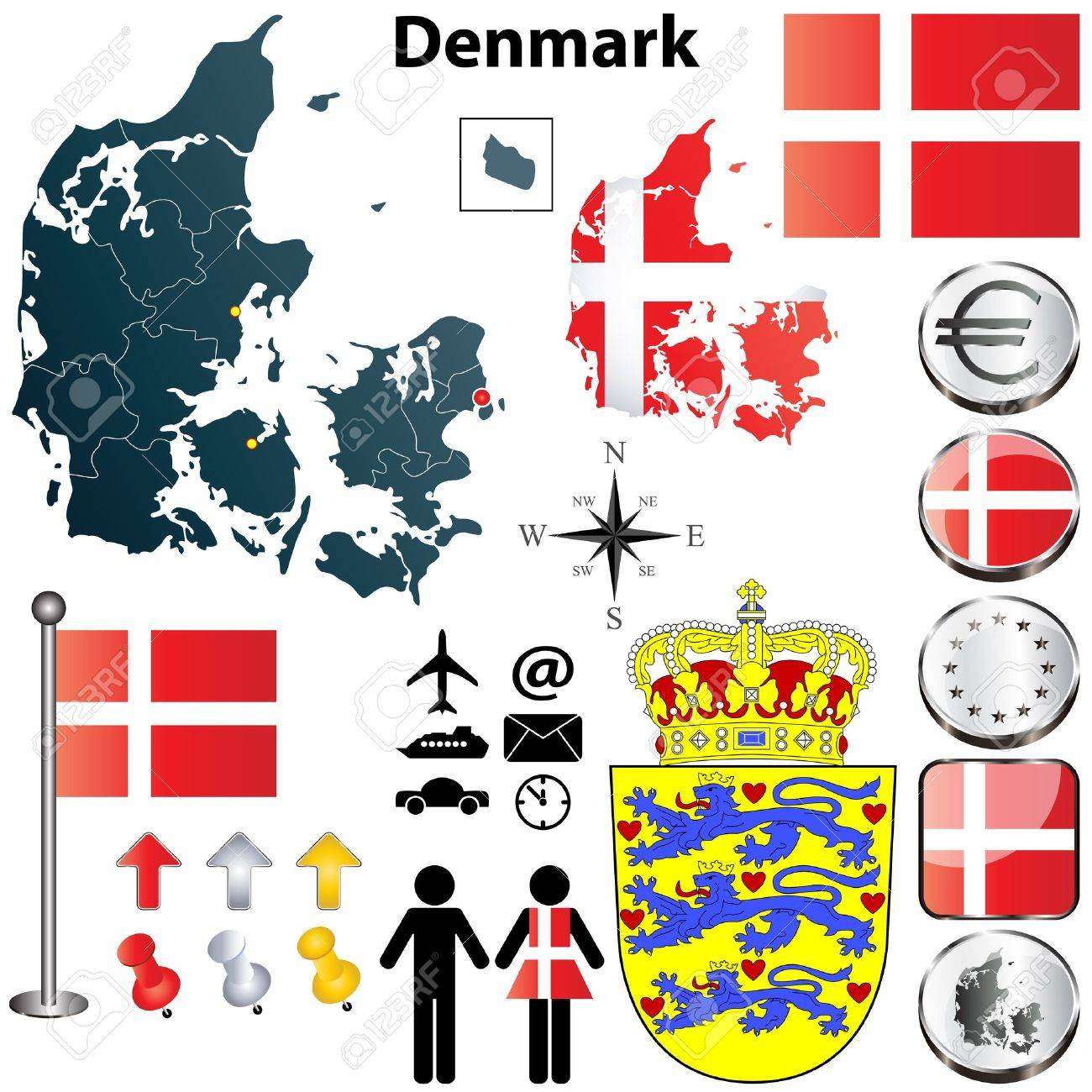 set of Denmark country shape with flags, buttons and symbols Stock Vector - 17364371