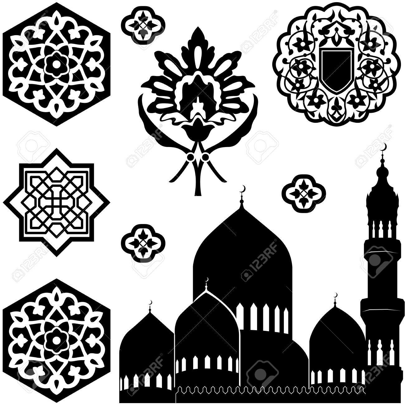 Vector set of Islamic ornaments on white background