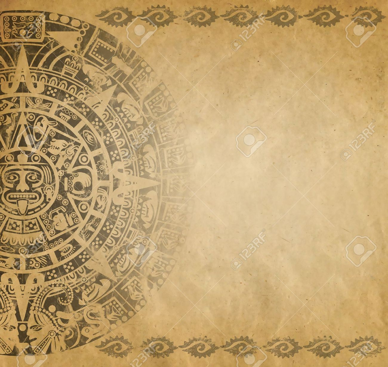 Background In American Indian Style With Mayan Calendar On Old ...