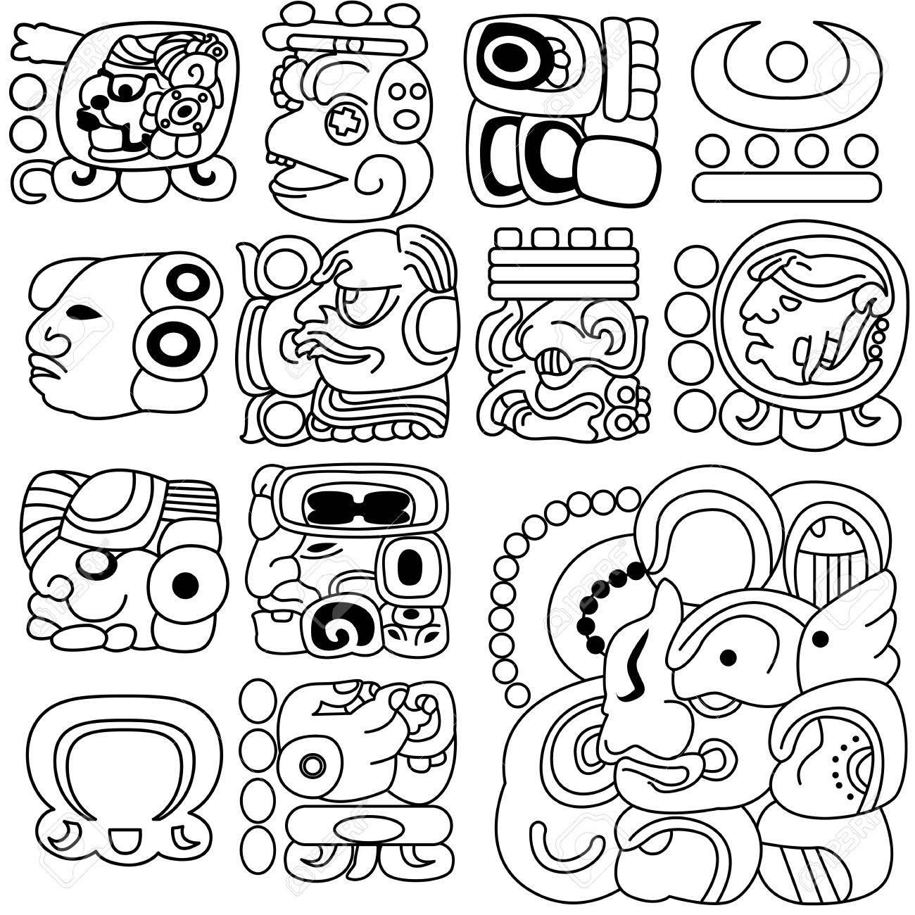 Image Of Ancient Mayan Hieroglyphs On White Royalty Free Cliparts