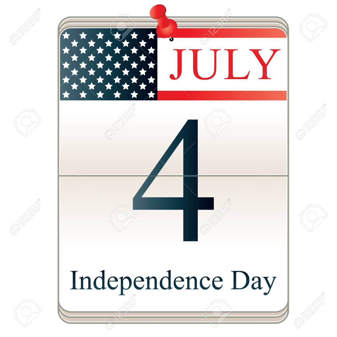 Vector of Calendar for 4th July with American flag Stock Vector - 18288145