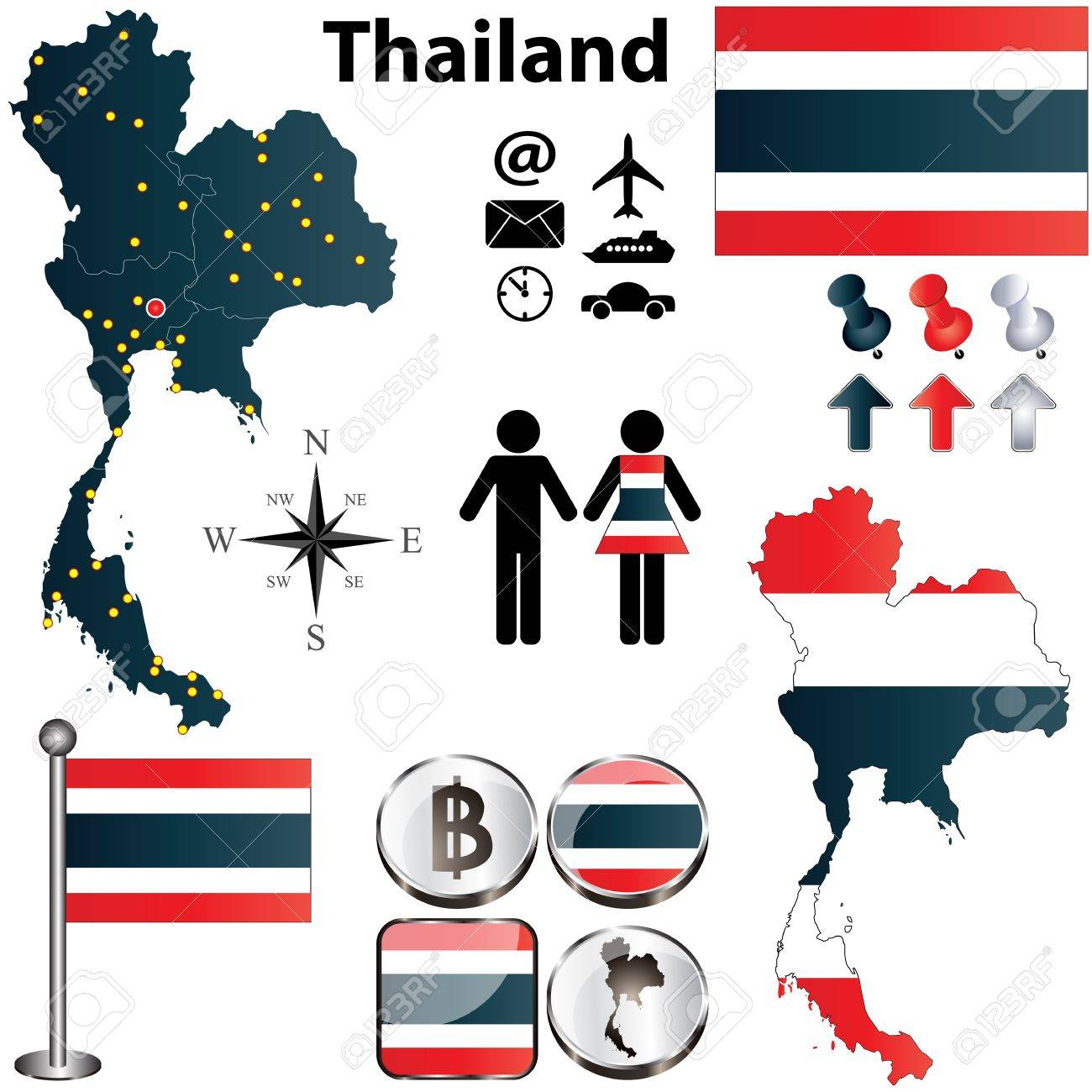 Thailand set with detailed country shape with regions borders, flags and icons Stock Vector - 18915592
