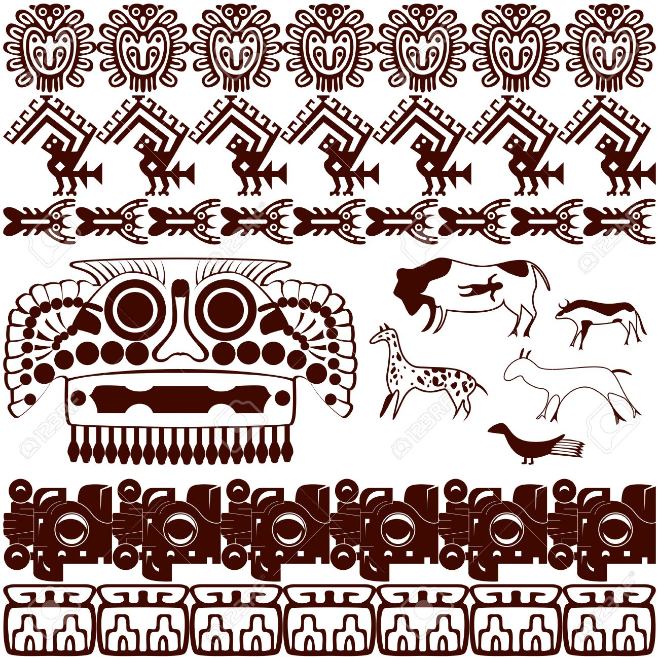 Native american ornaments - Vector Vector Of Set Of Ancient American Ornaments On White