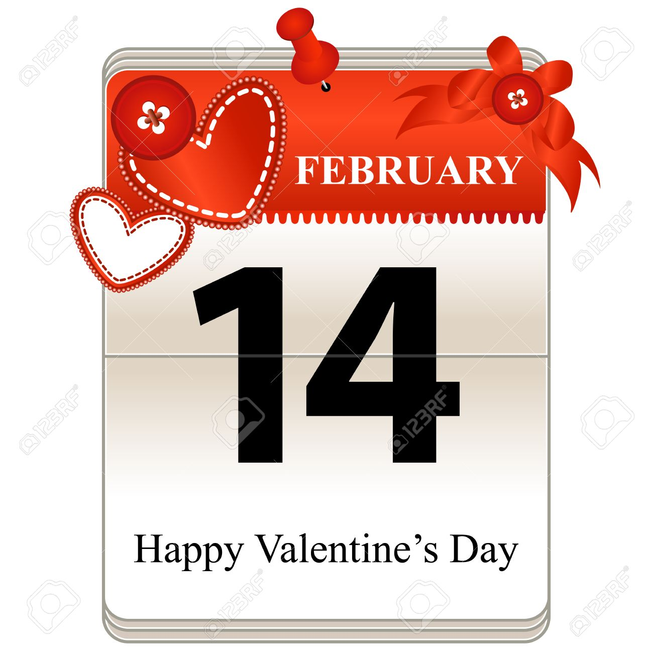 Vector Of The Date Valentines Day Calendar, 14th Of February Stock Vector    24160367