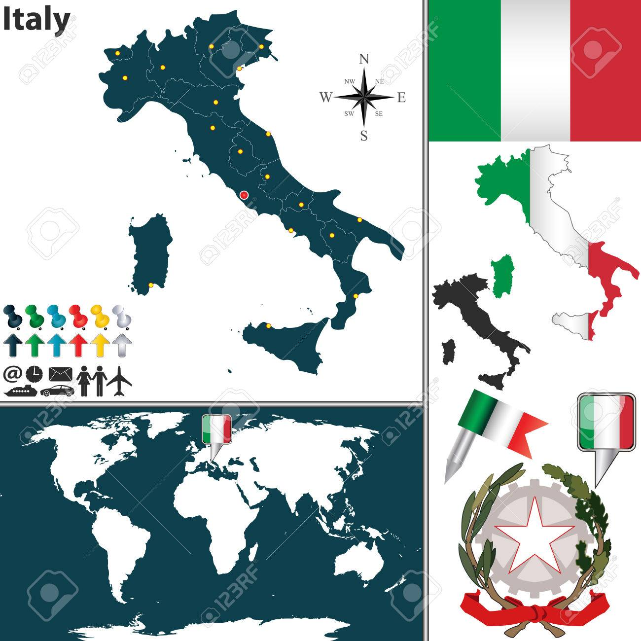 Vector map of italy with regions coat of arms and location on vector vector map of italy with regions coat of arms and location on world map gumiabroncs Images