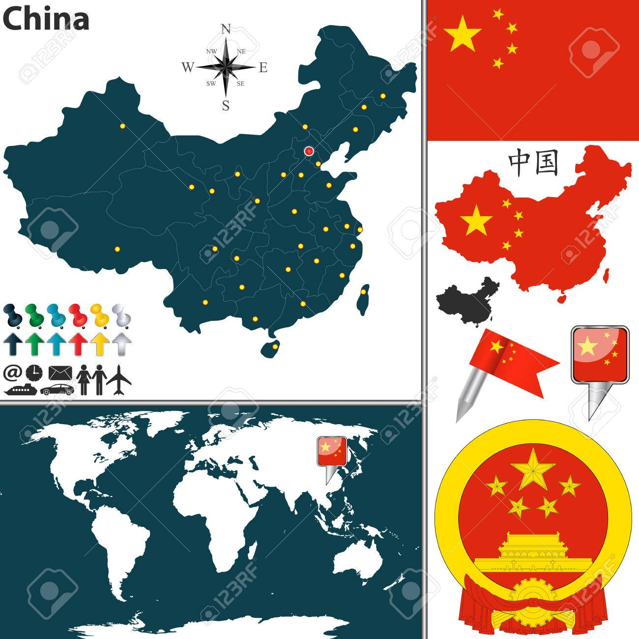 Vector Map Of China With Regions, Coat Of Arms And Location On ...