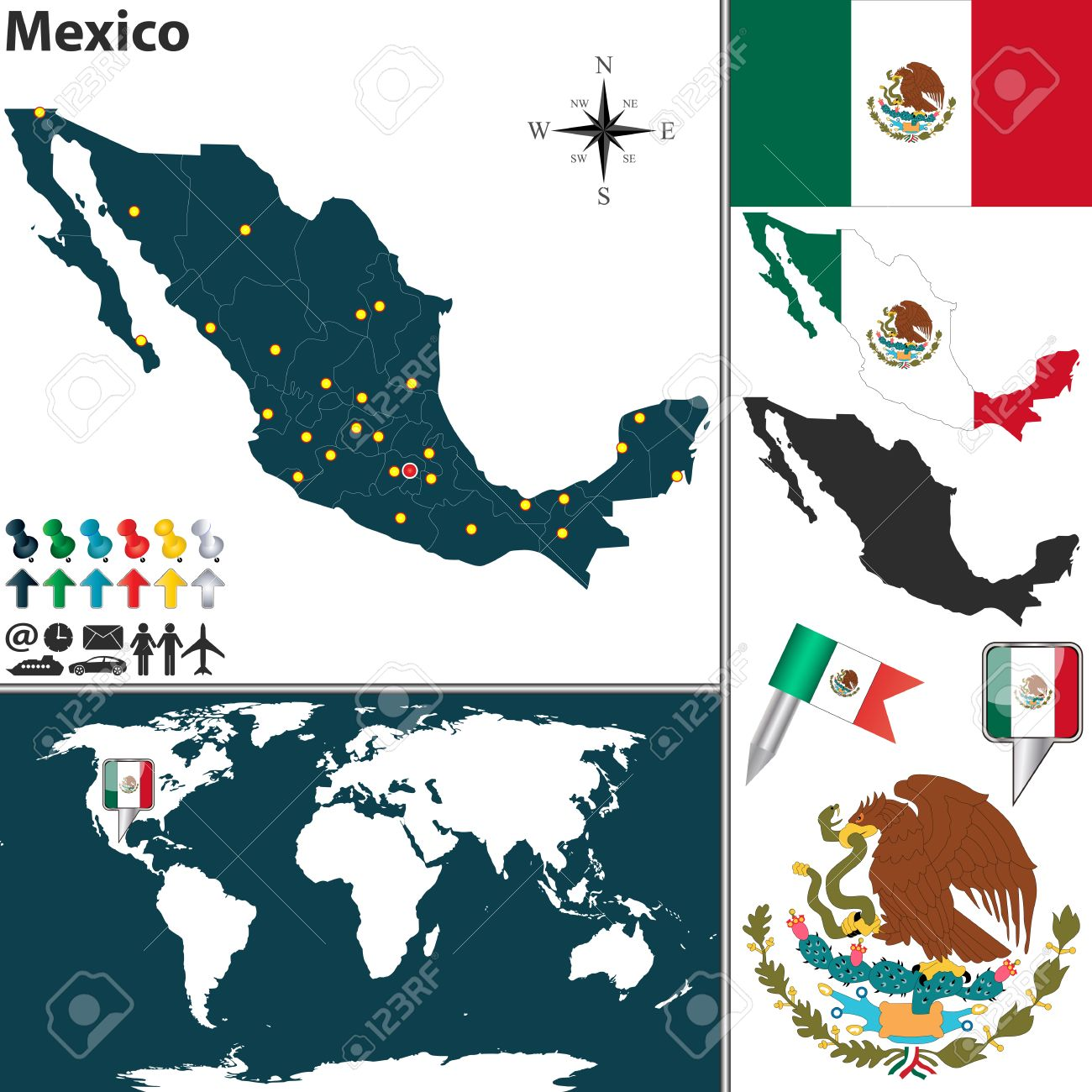 Vector Map Of Mexico With Regions Coat Of Arms And Location - Mexico regions map