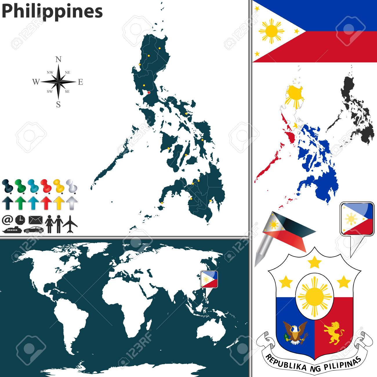 Vector Map Of Philippines With Regions Coat Of Arms And Location