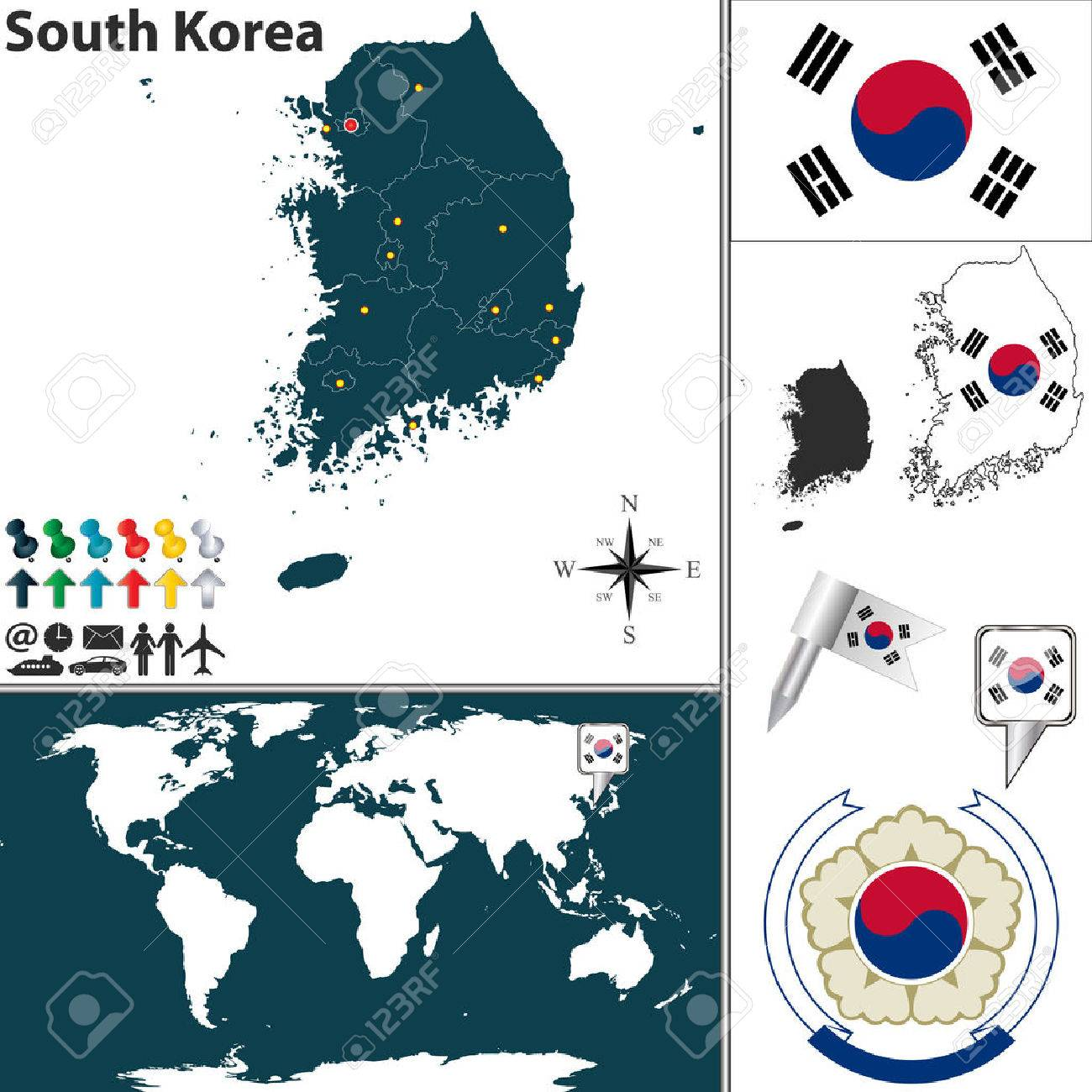 Vector Map Of South Korea With Regions Coat Of Arms And Location