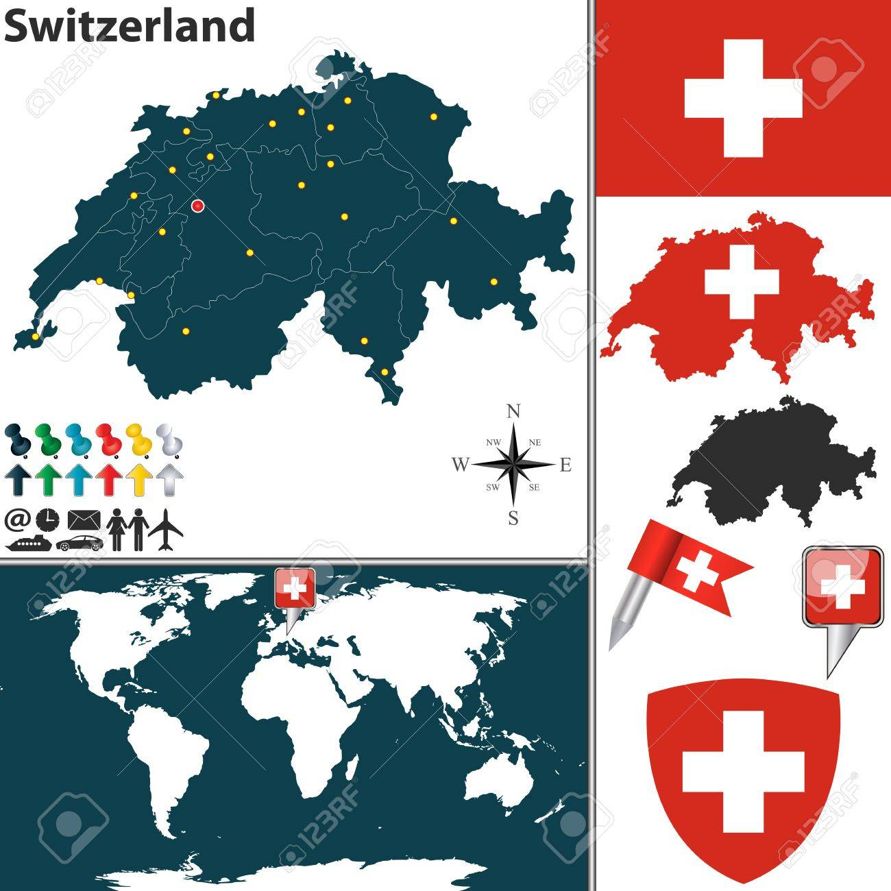 Vector Map Of Switzerland With Regions Coat Of Arms And Location
