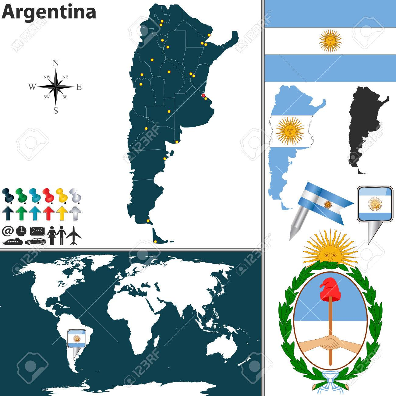 Vector map of argentina with regions coat of arms and location vector vector map of argentina with regions coat of arms and location on world map gumiabroncs Images