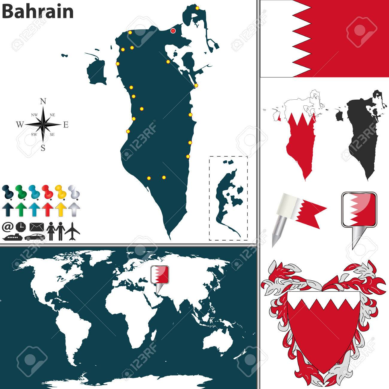 Vector Map Of Bahrain With Regions, Coat Of Arms And Location ...
