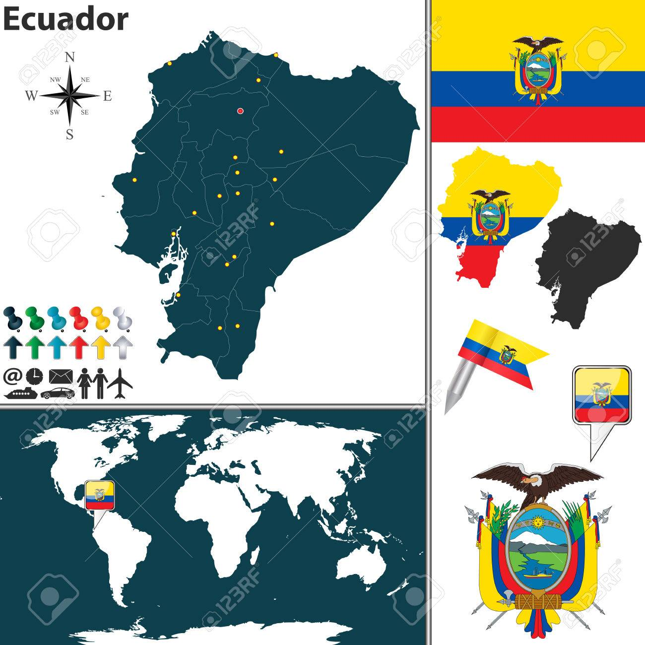 Location Of Ecuador On World Map.Map Of Ecuador With Regions Coat Of Arms And Location On World