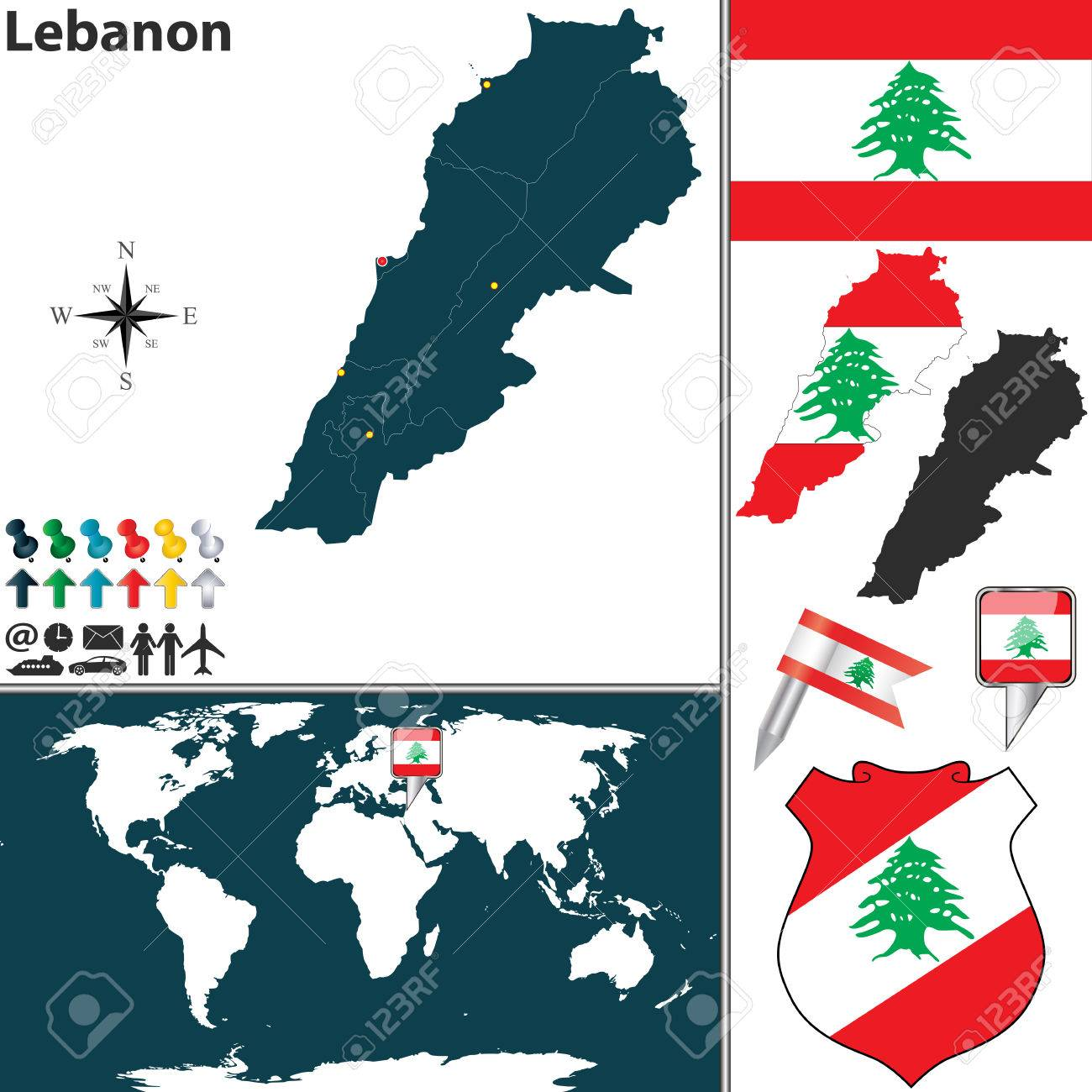 Map Of Lebanon With Regions Coat Of Arms And Location On World