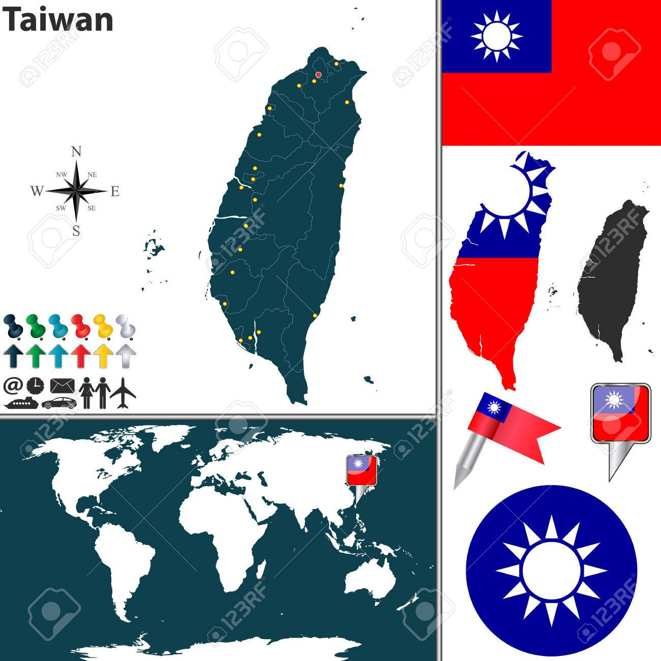 Map Of Taiwan With Regions, Coat Of Arms And Location On World ...