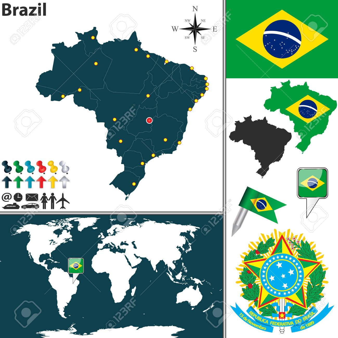 Map of brazil with regions coat of arms and location on world map of brazil with regions coat of arms and location on world map stock vector gumiabroncs Image collections