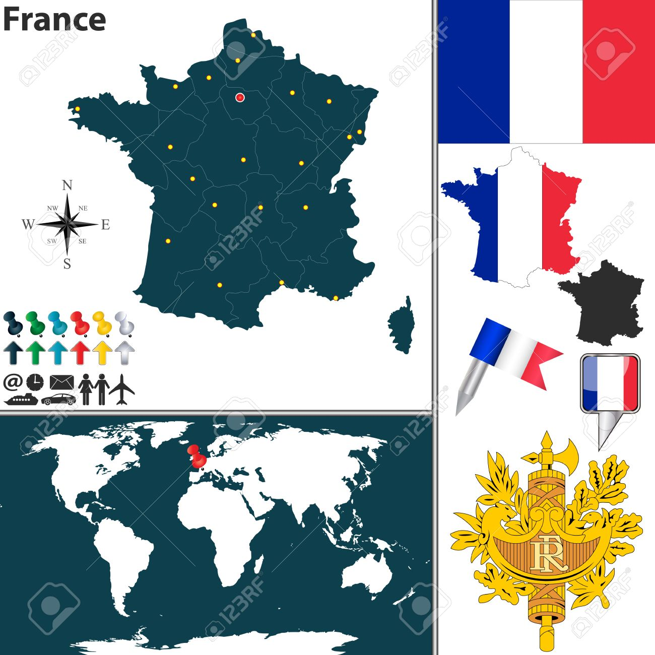 Map Of France With Regions, Coat Of Arms And Location On World ...