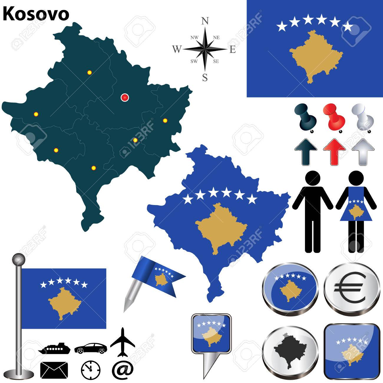 Map of kosovo with regions coat of arms and location on world map of kosovo with regions coat of arms and location on world map stock vector gumiabroncs Images