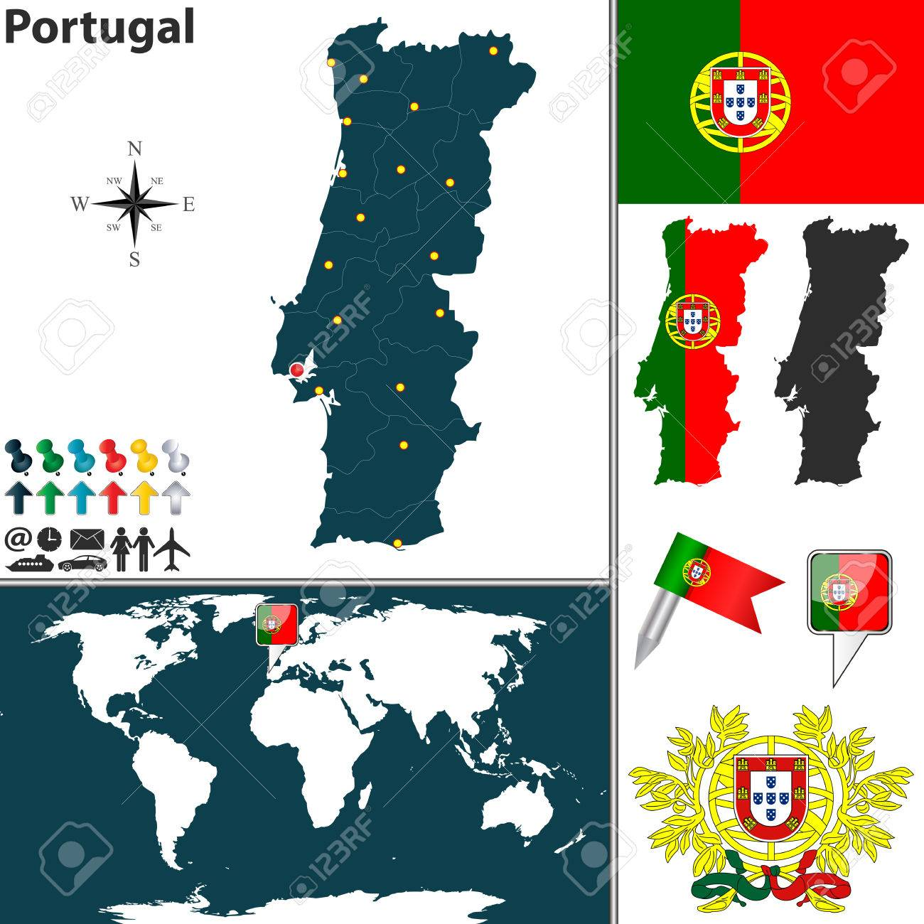 Map Of Portugal With Regions Coat Of Arms And Location On World