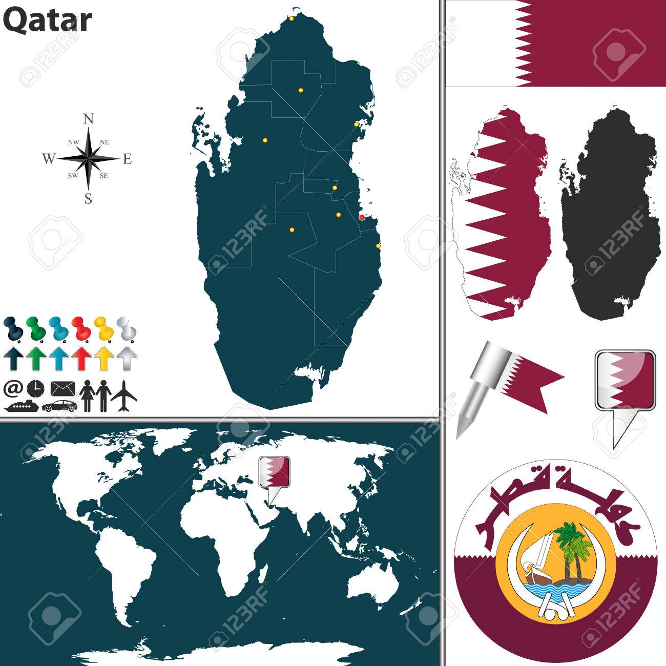 Where Qatar Is Located In World Map.Map Of Qatar With Regions Coat Of Arms And Location On World