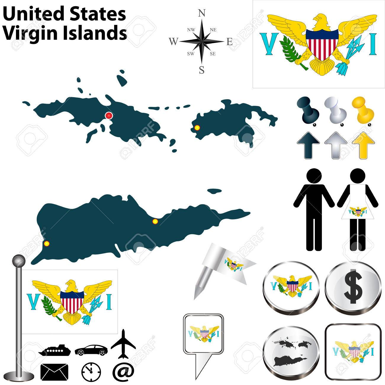 United States Virgin Islands Set With Detailed Country Shape With Region Borders Flags And Icons
