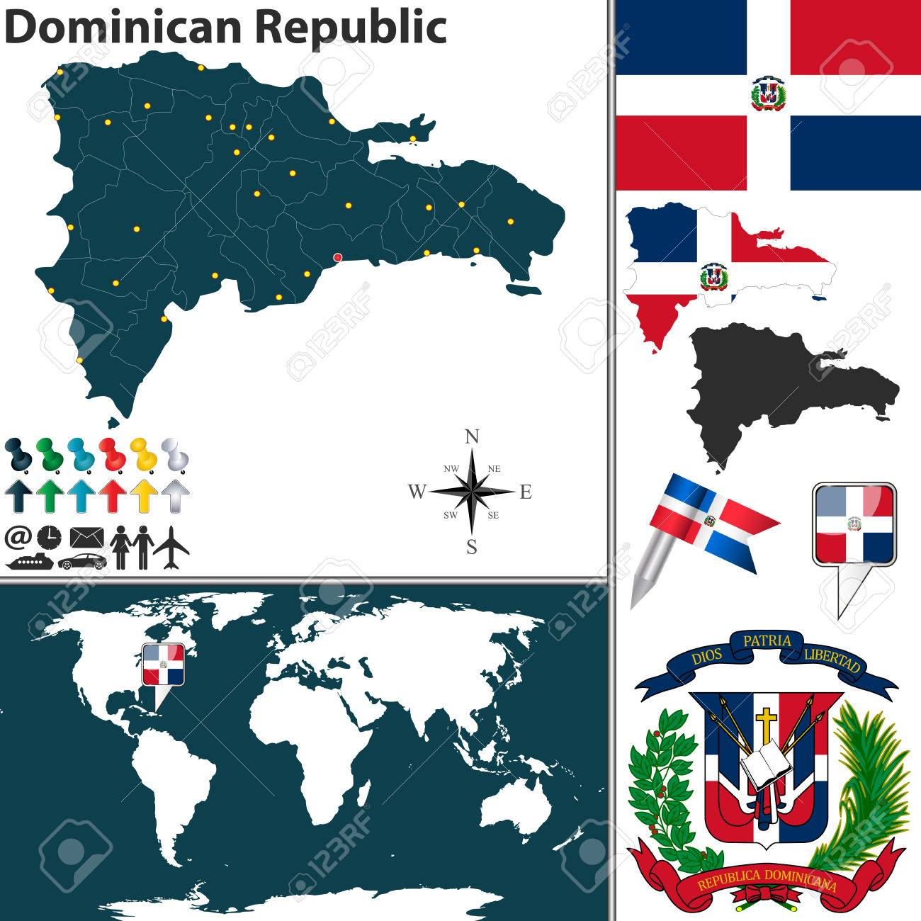 Vector   Vector Map Of Dominican Republic With Regions, Coat Of Arms And  Location On World Map