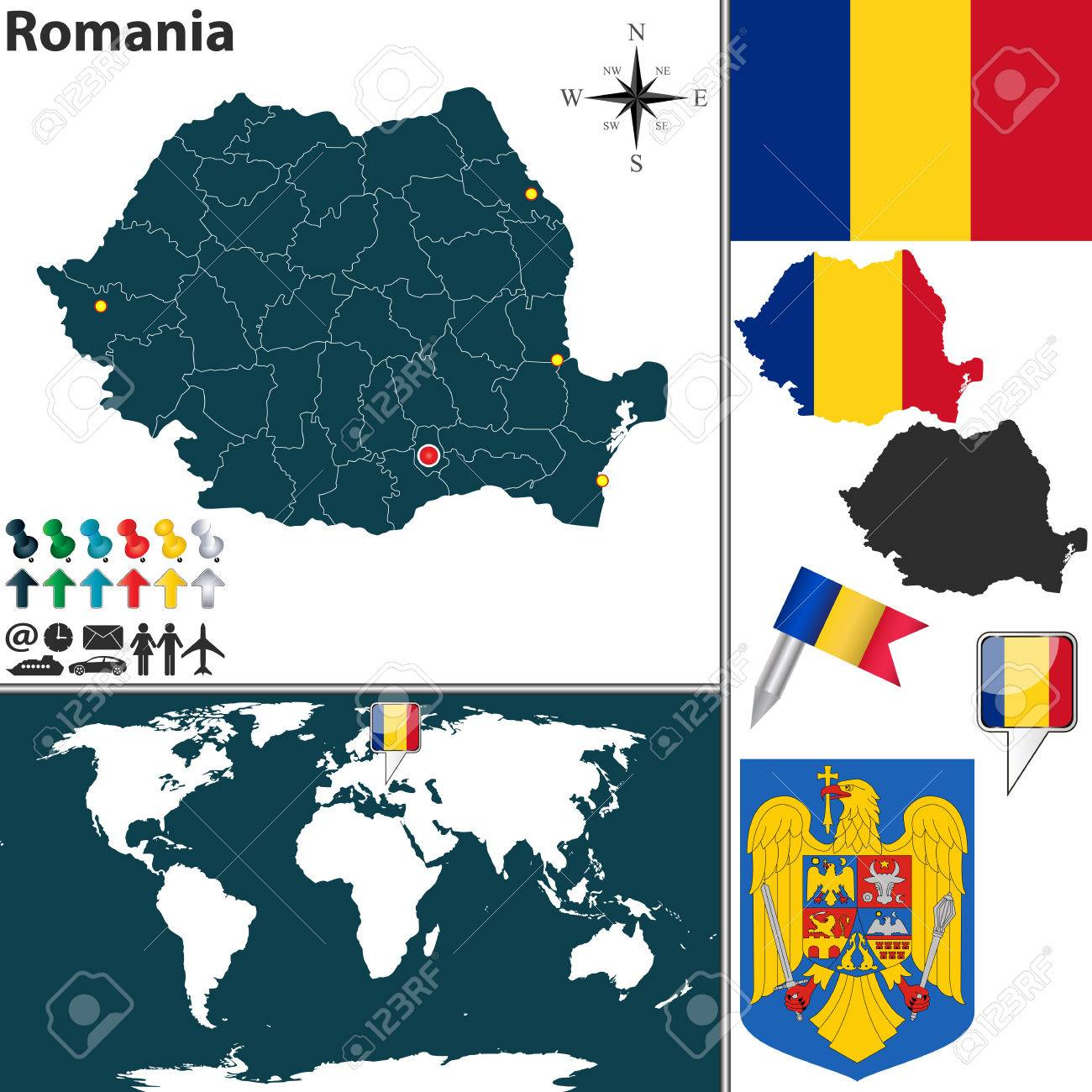 Vector Map Of Romania With Regions, Coat Of Arms And Location ...
