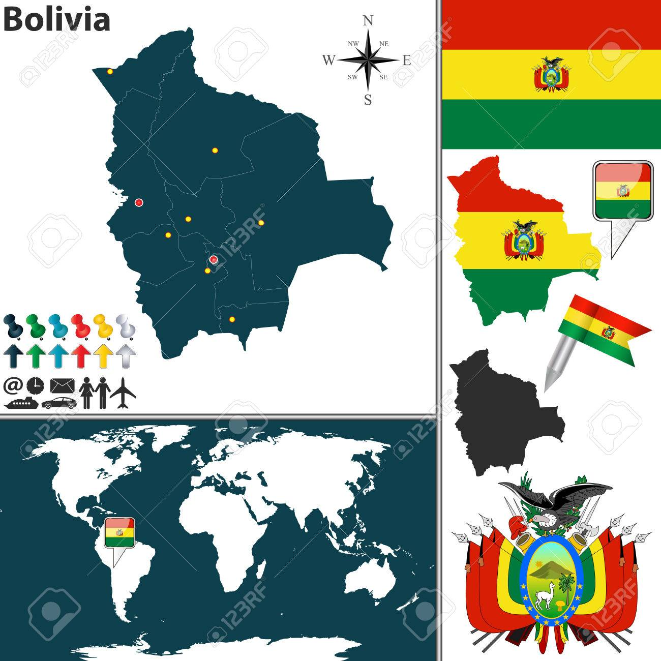 Map of bolivia with regions coat of arms and location on world map of bolivia with regions coat of arms and location on world map stock vector gumiabroncs Image collections