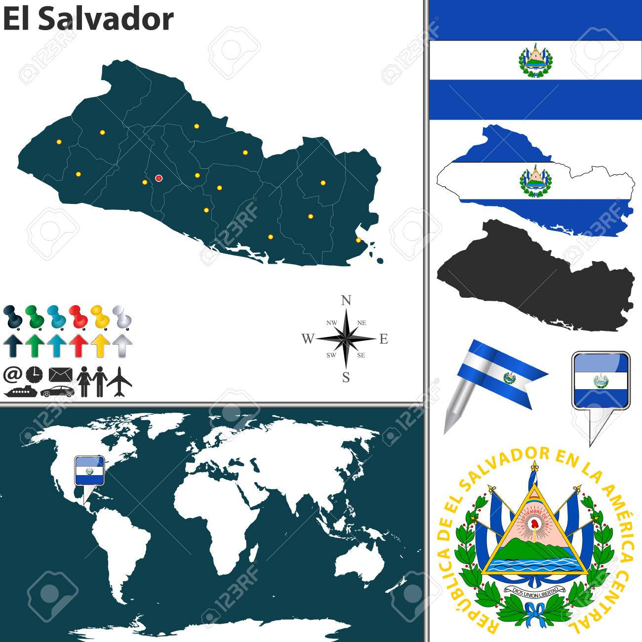 Map of el salvador with regions coat of arms and location on map of el salvador with regions coat of arms and location on world map stock gumiabroncs Images