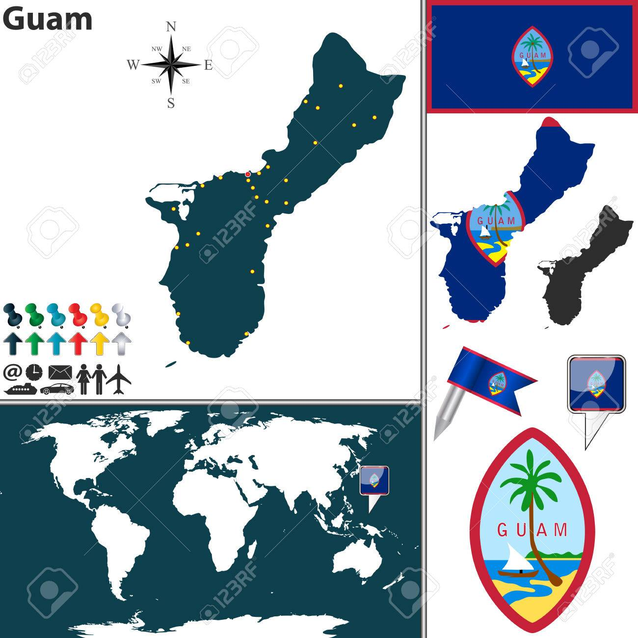 map of Guam with regions, coat of arms and location on world..