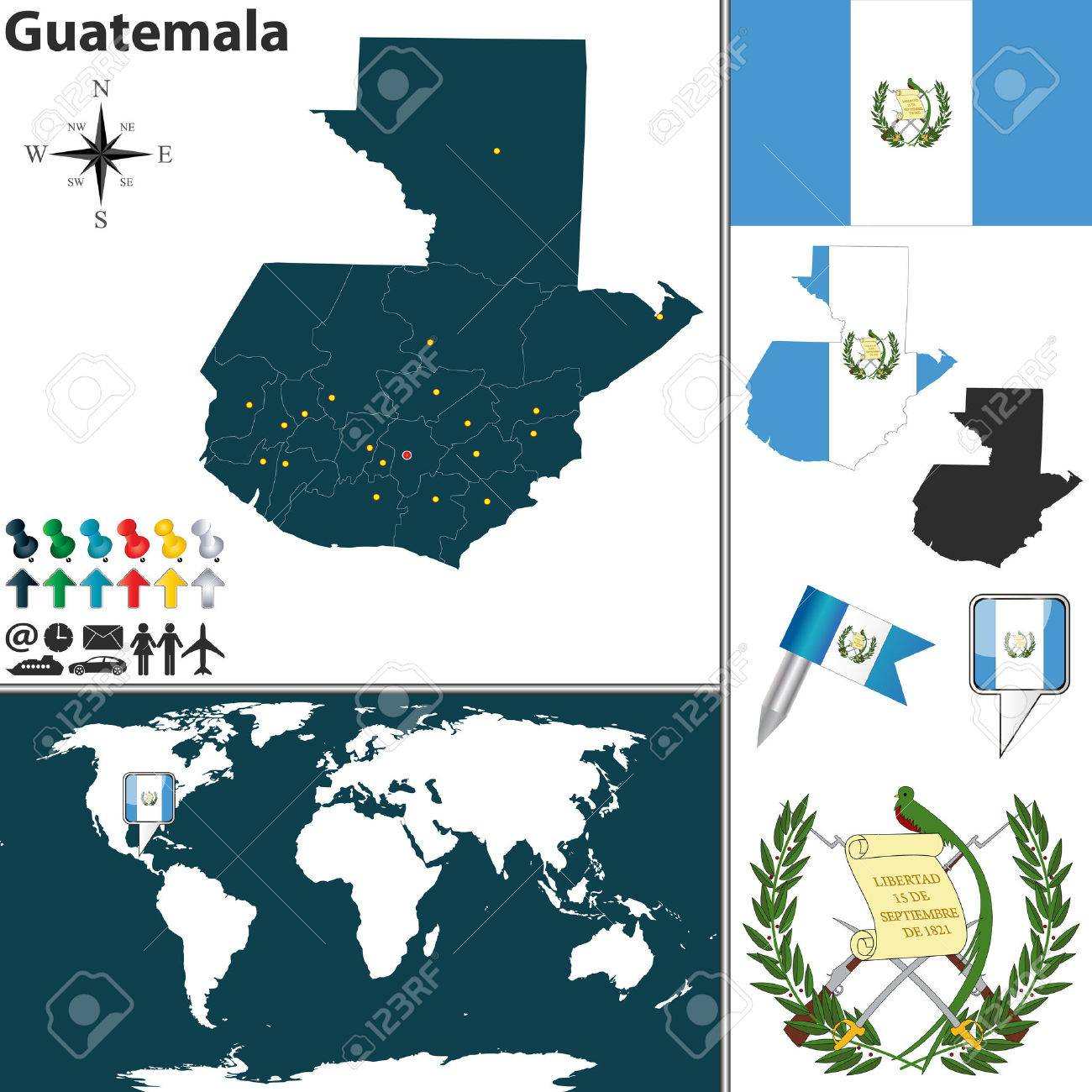 map of Guatemala with regions, coat of arms and location on world..