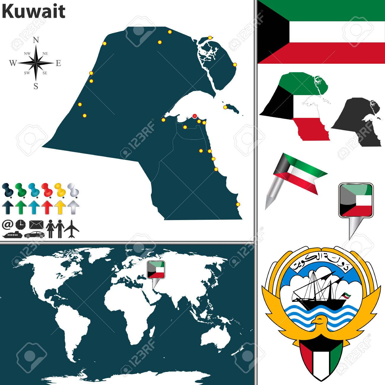 Map of kuwait with regions coat of arms and location on world map of kuwait with regions coat of arms and location on world map stock vector gumiabroncs Gallery