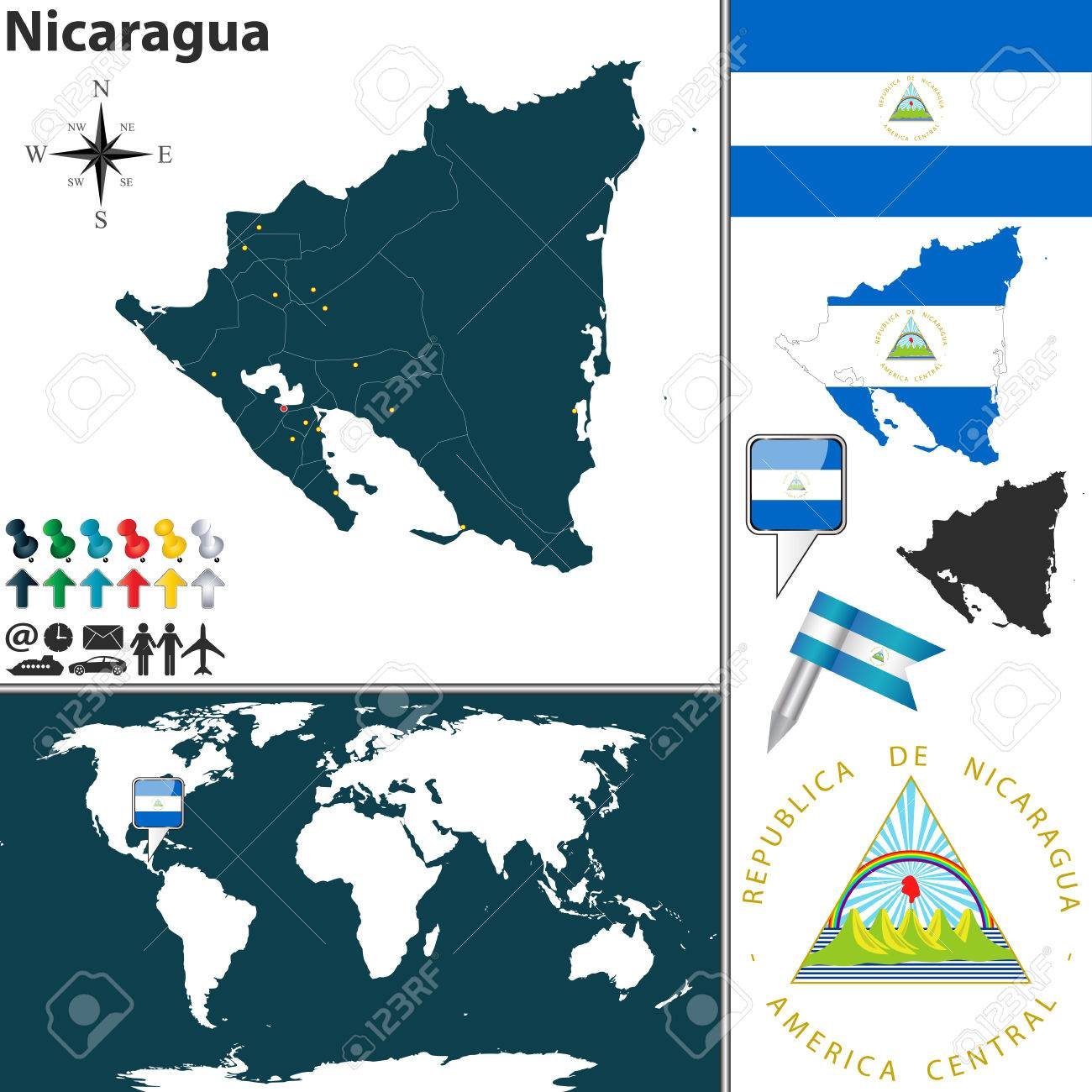 Where Is Nicaragua Located On A World Map.Map Of Nicaragua With Regions Coat Of Arms And Location On World