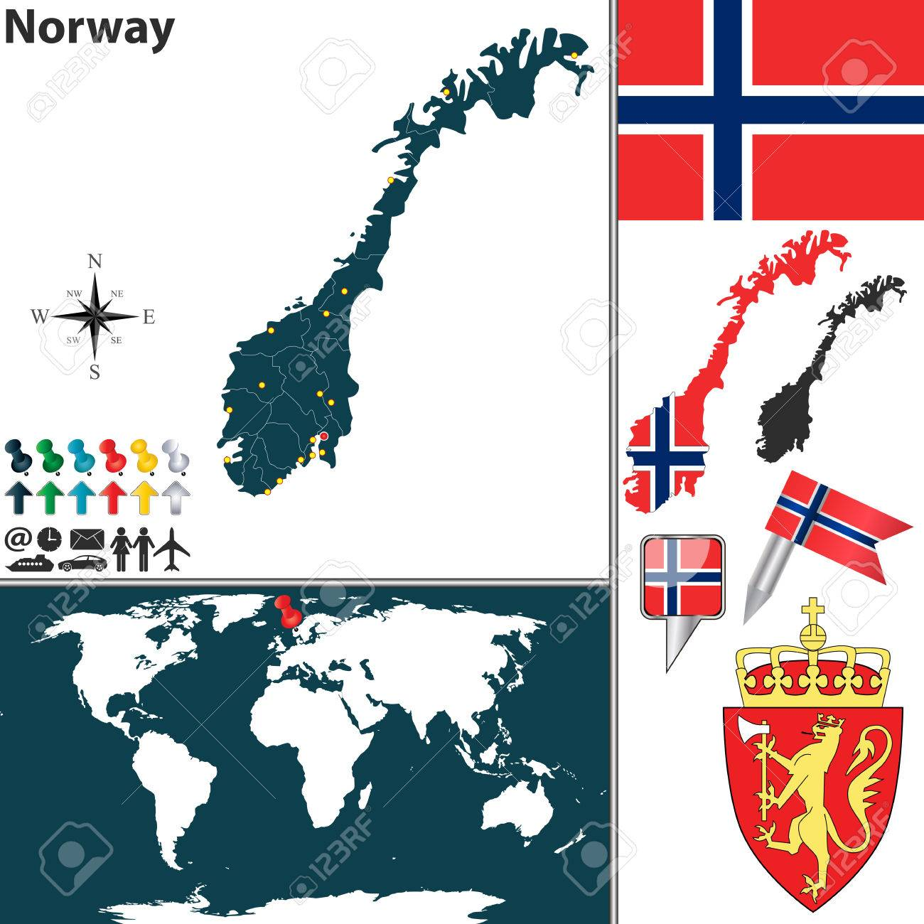 Map Of Norway With Regions Coat Of Arms And Location On World