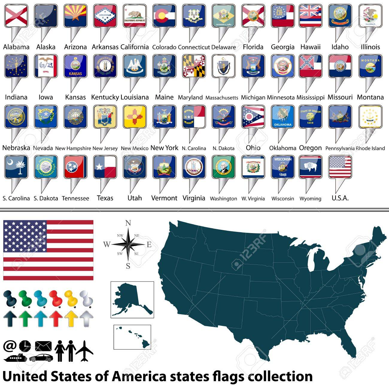 Map Of United States Of America With All States Flags Collection Stock Vector 28457286