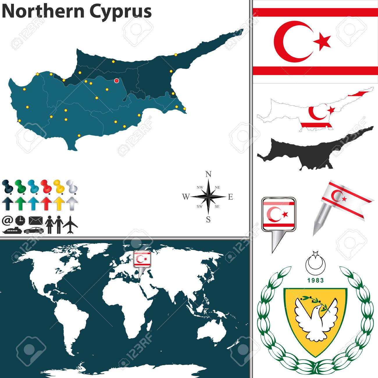 Map Of Northern Cyprus With Regions Coat Of Arms And Location - Northern cyprus map