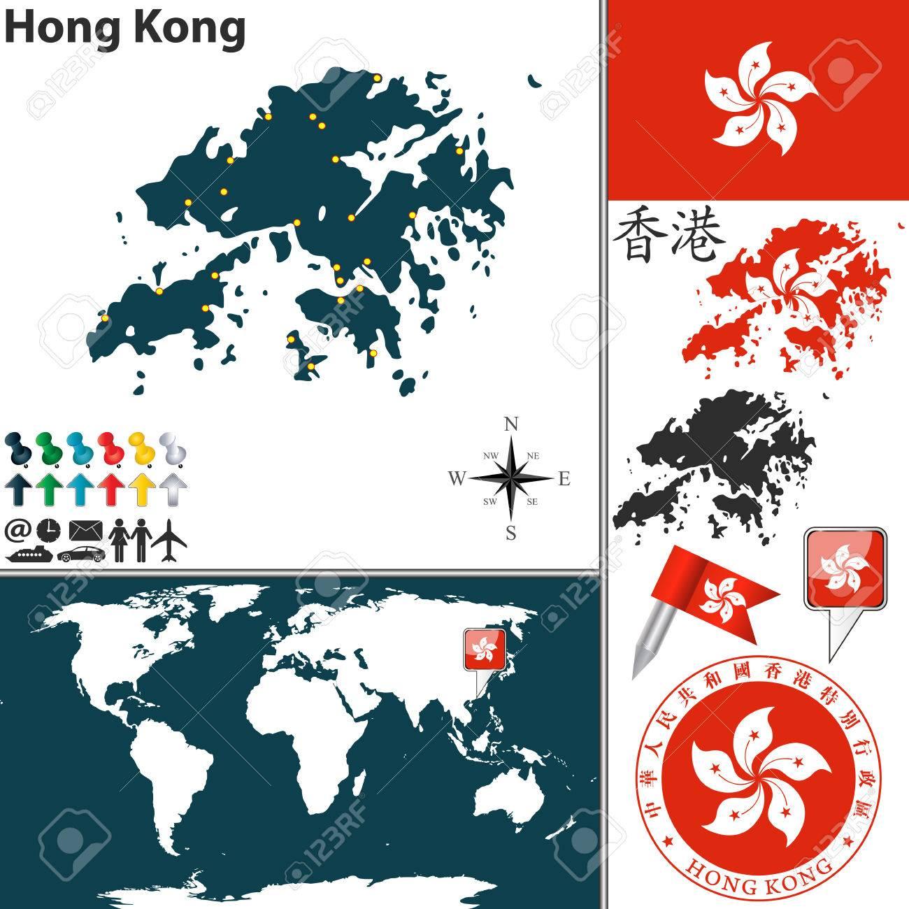 Hong Kong Location On World Map.Map Of Hong Kong With Coat Of Arms And Location On World Map Royalty