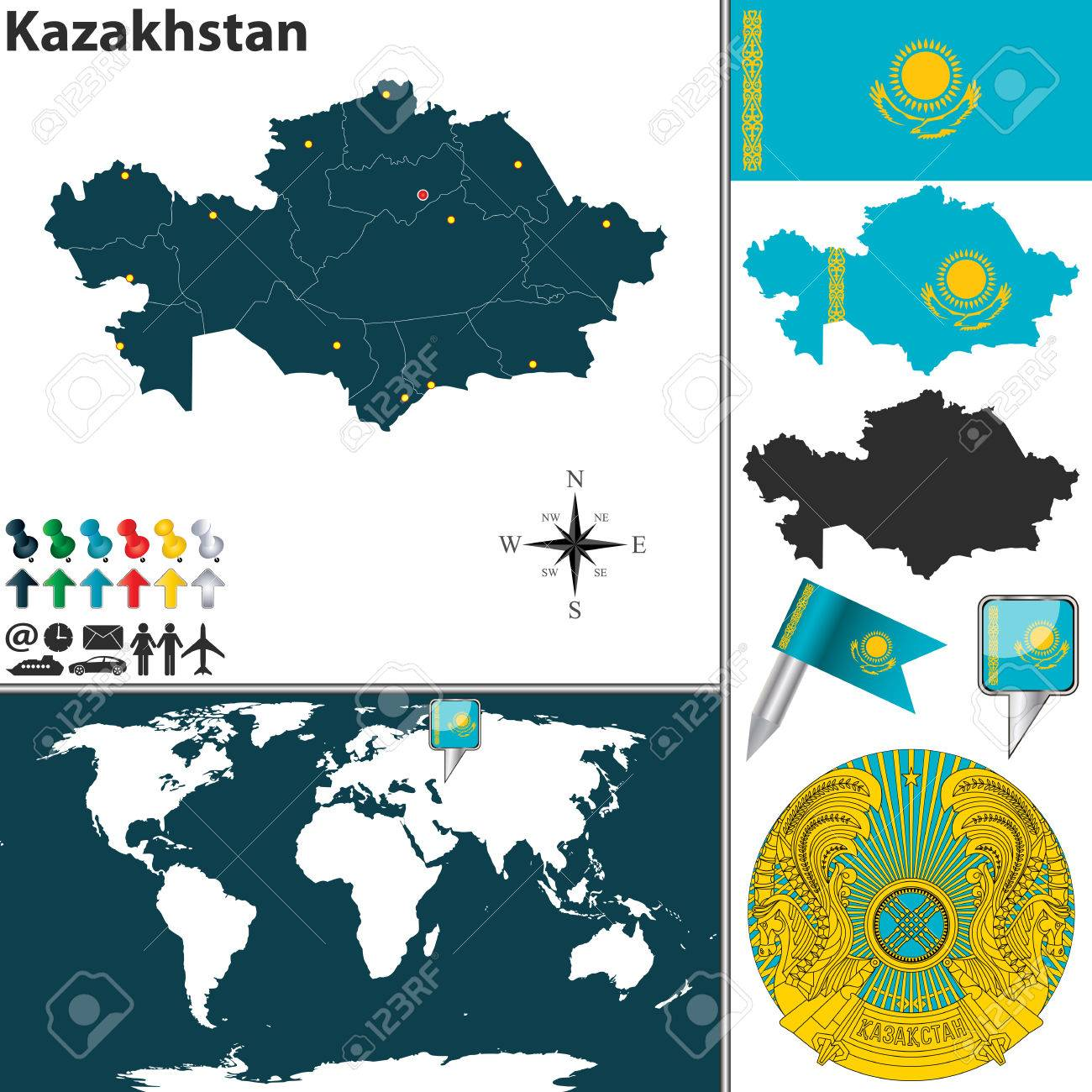map of Kazakhstan with regions, coat of arms and location on.. Kazakhstan On World Map on iraq on world map, south africa on world map, tajikistan on world map, germany on world map, laos on world map, iran on world map, qatar on world map, egypt on world map, taiwan on world map, luxembourg on world map, latvia on world map, tibet on world map, algeria on world map, ukraine on world map, kuwait on world map, lesotho on world map, azerbaijan on world map, gabon on world map, kenya on world map, indonesia on world map,