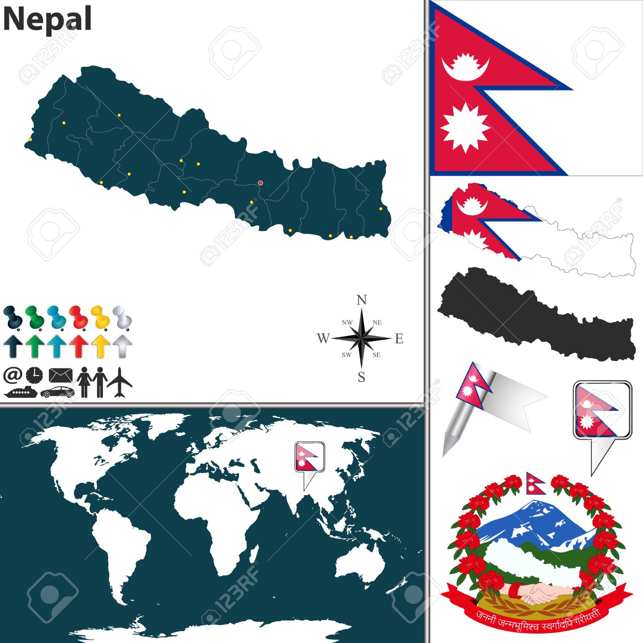 Picture of: Map Of Nepal With Regions Coat Of Arms And Location On World Royalty Free Cliparts Vectors And Stock Illustration Image 29120459