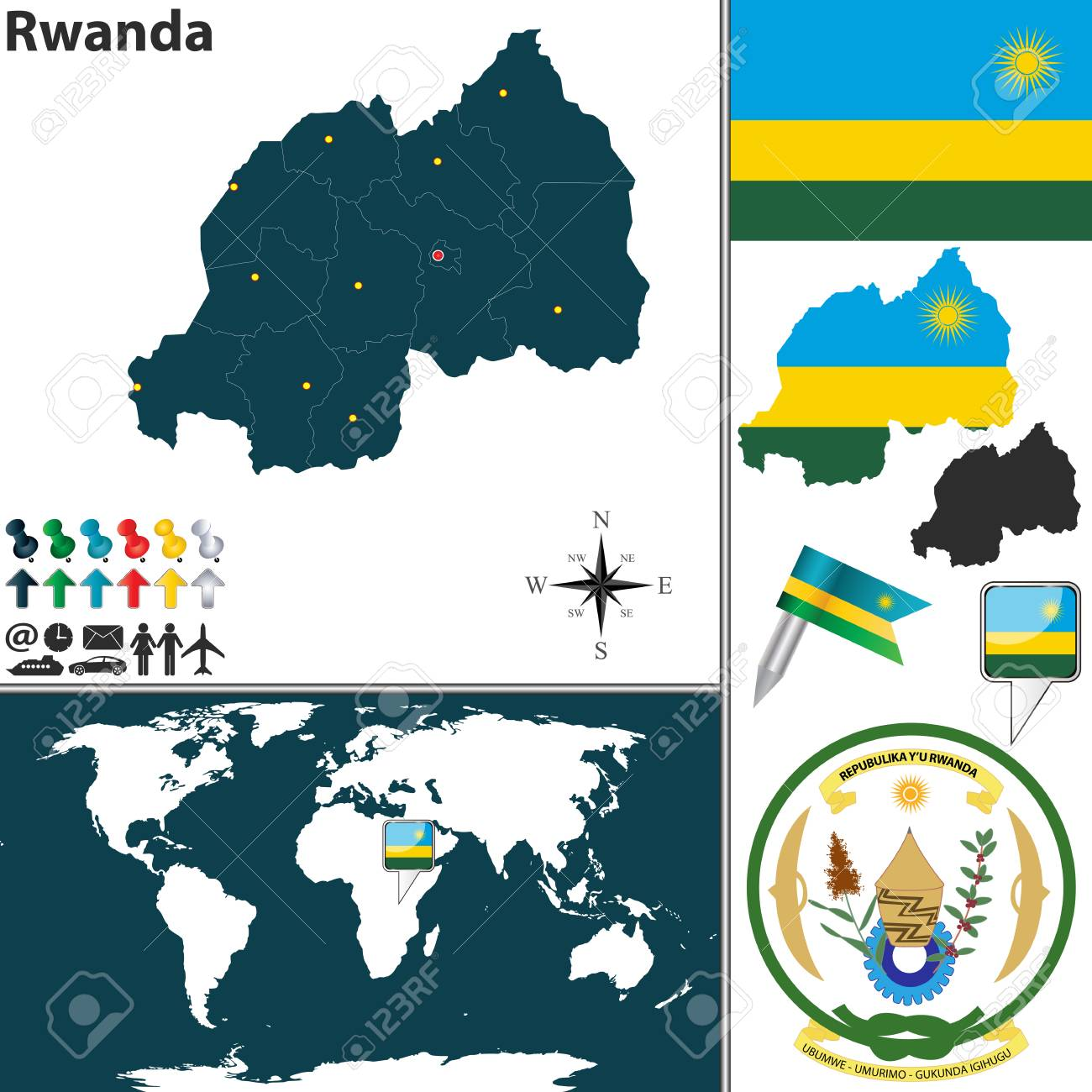 Map Of Rwanda With Regions Coat Of Arms And Location On World